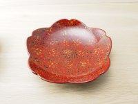 唐塗 菓子皿 桜 赤上