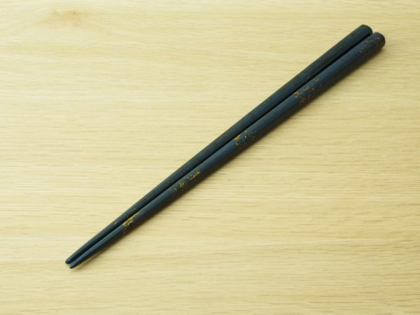 画像2: 唐塗 大箸(黒彩色金仕掛け)