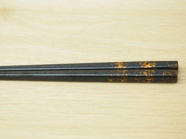 画像4: 唐塗 大箸(黒上金彩色コバルトブルー)