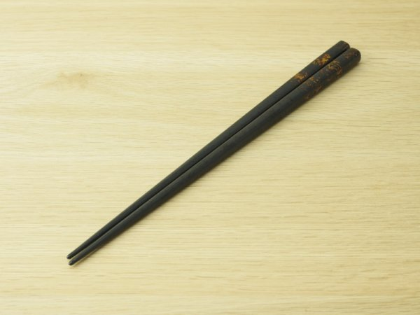 画像2: 唐塗 大箸(黒上金彩色コバルトブルー)
