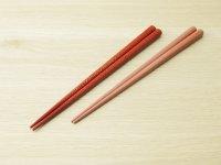 ななこ塗 中箸 白種 (赤、ピンク)