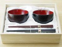 夫婦汁椀(箸付) 紋紗塗唐塗紋様