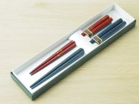 夫婦箸セット 金彩色(青と赤、緑と赤)