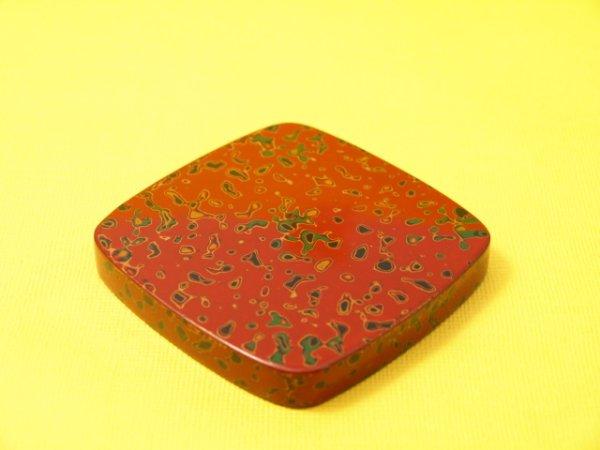 画像1: 唐塗 木製急須台 赤上